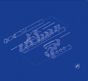 Vista in esploso del flauto (booklet, inlay): Gabriele Faoro (Gaab)
